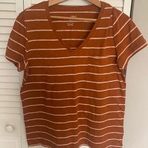 Universal Thread Orange Striped Vneck T-shirt